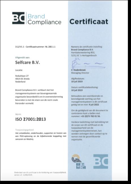 Selfcare certificaat ISO 27001